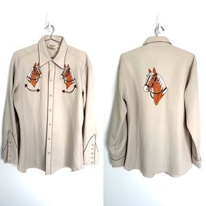 🔥 H BAR C Vintage Embroidered horse xl western